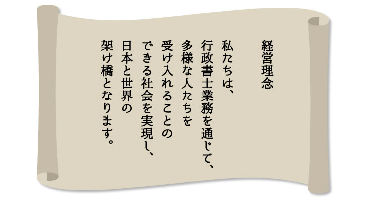 経営理念  私たちは、行政書士業務を通じて、 多様な人たちを受け入れることの できる社会を実現し、 日本と世界の架け橋となります。
